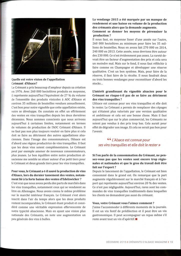 entretien de jacques cattin senior dans le magazine